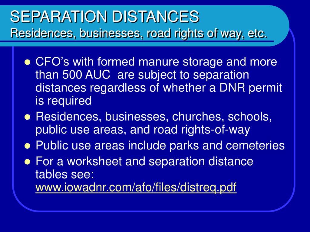 SEPARATION DISTANCES