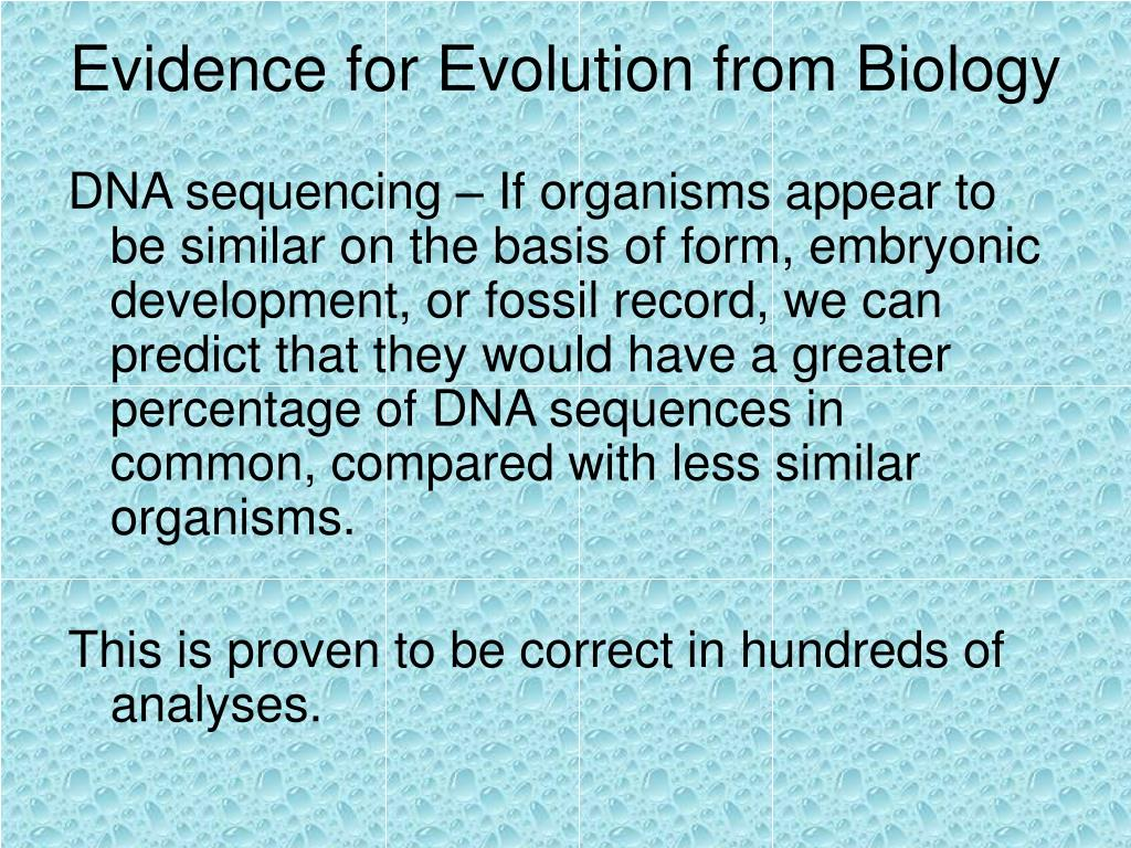 Evidence for Evolution from Biology