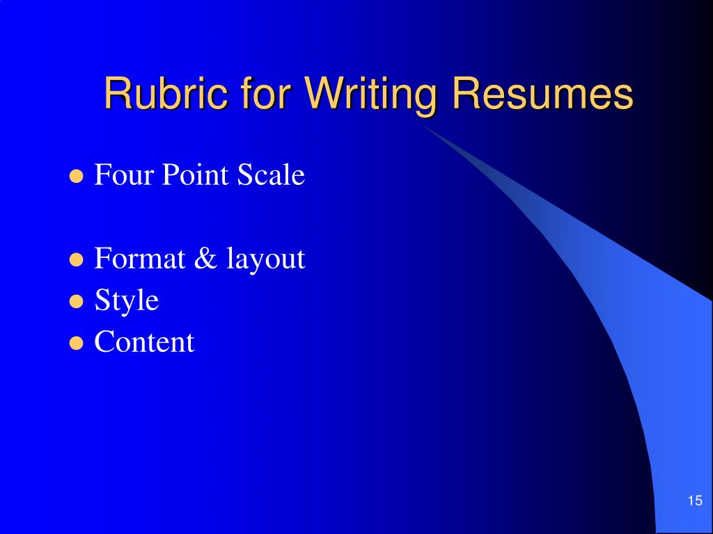 Rubric for Writing Resumes