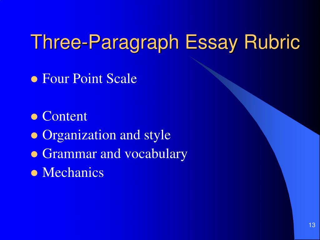 Three-Paragraph Essay Rubric