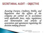 secretarial audit objective