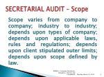 secretarial audit scope