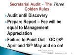 secretarial audit the three golden rules