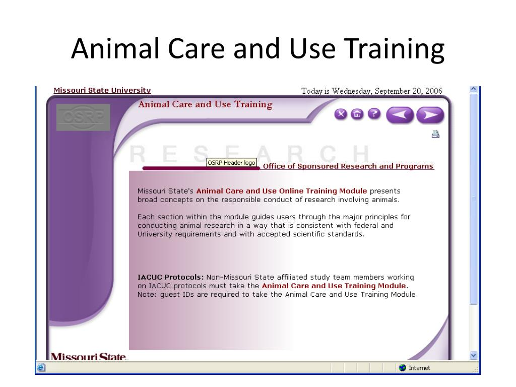 Animal Care and Use Training