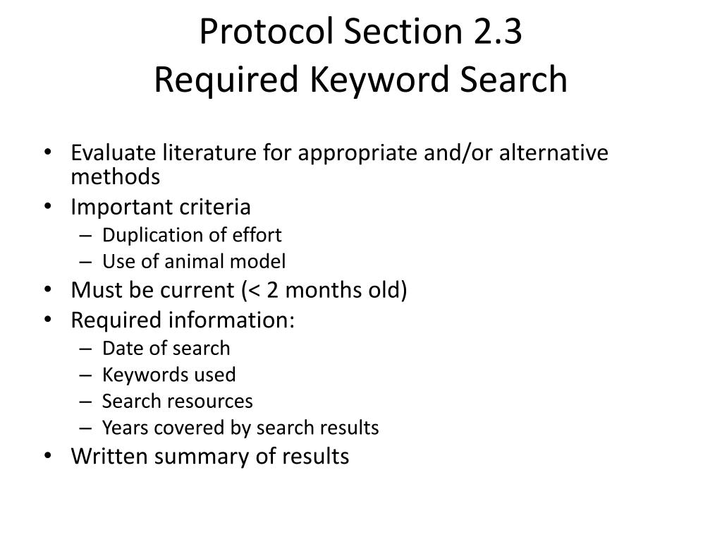 Protocol Section 2.3