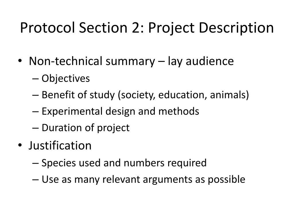Protocol Section 2: Project Description