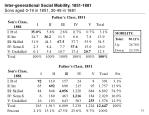 inter generational social mobility 1851 1881 sons aged 0 19 in 1851 30 49 in 1881