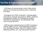 the rise institutionalization of csr