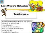 last week s metaphor