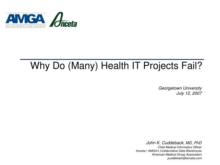 why do many health it projects fail n.