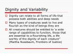 dignity and variability