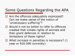 some questions regarding the apa