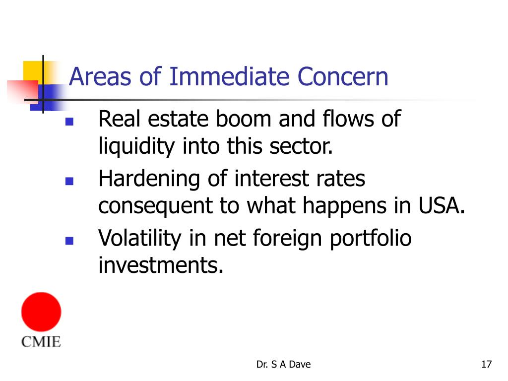 Areas of Immediate Concern