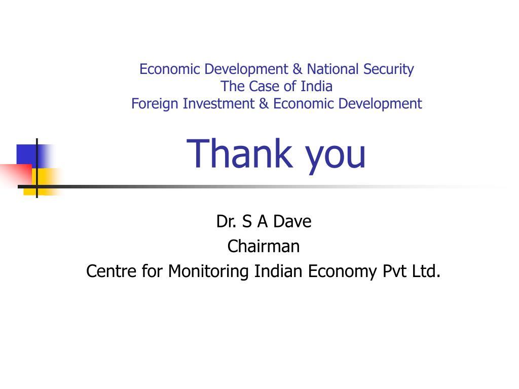 Economic Development & National Security
