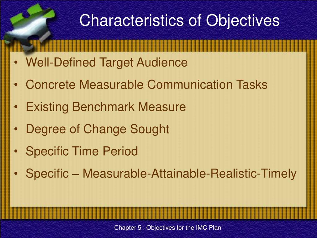 Characteristics of Objectives