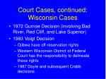 court cases continued wisconsin cases