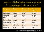 johnson demeester normal values for esophageal ph 4 n 50