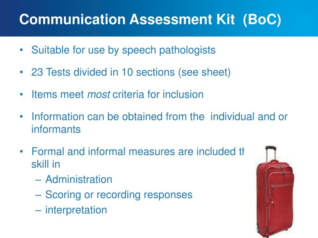 Communication Assessment Kit  (BoC)