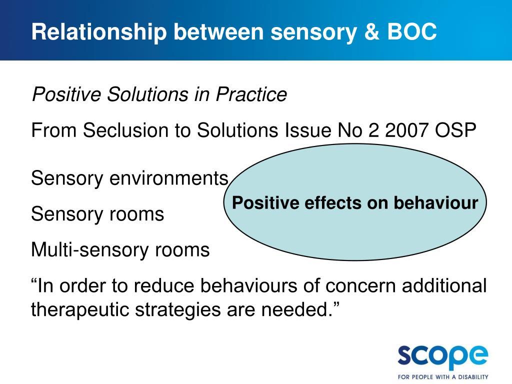 Relationship between sensory & BOC