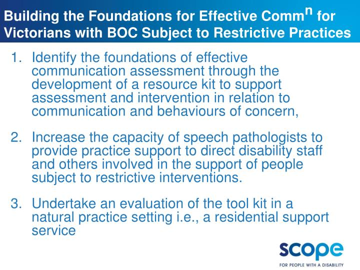 Building the Foundations for Effective Comm
