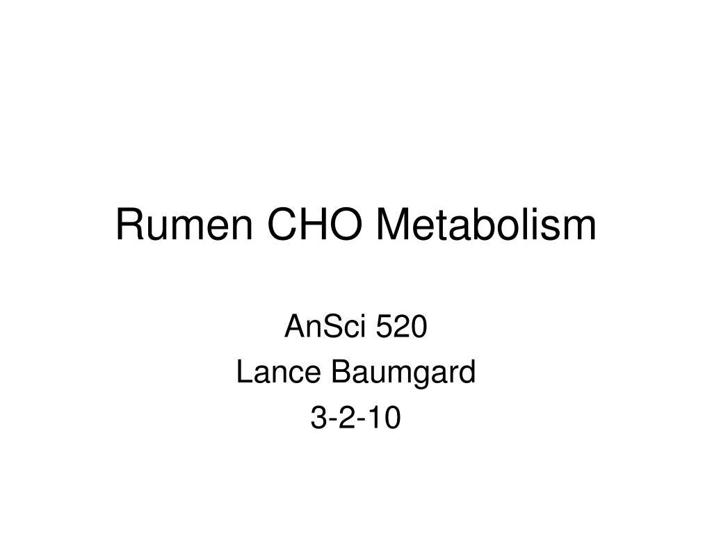 rumen cho metabolism l.