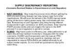supply discrepancy reporting comments received relative to discontinuance of joint regulation