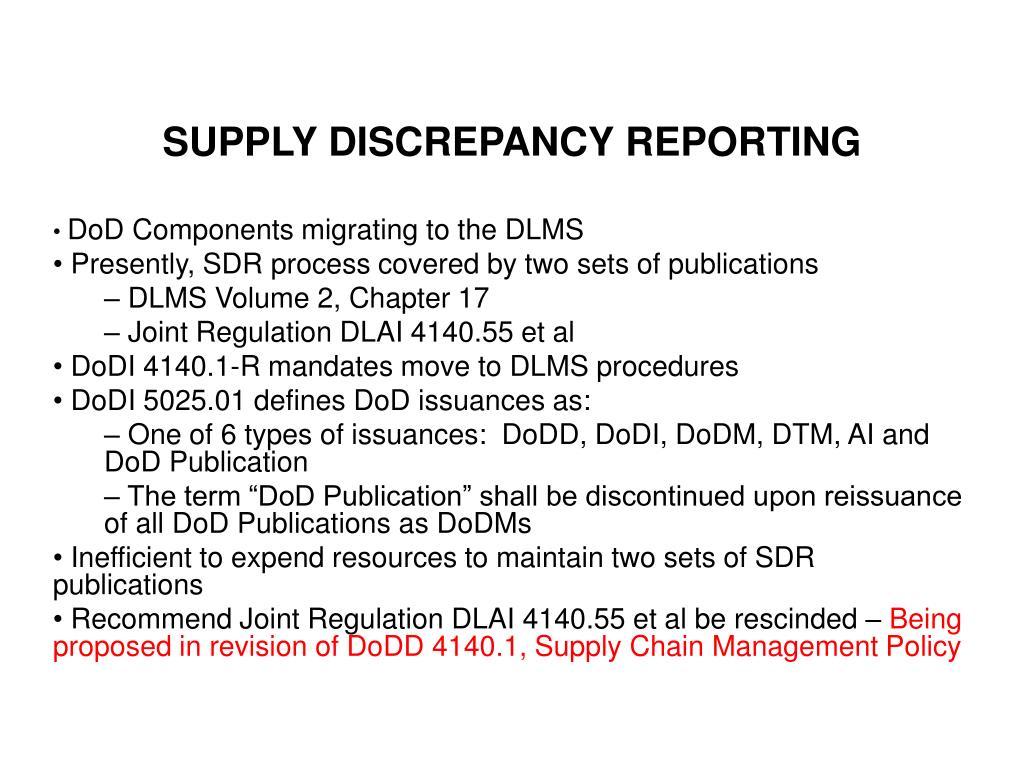 supply discrepancy reporting l.