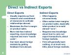 direct vs indirect exports
