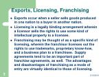 exports licensing franchising