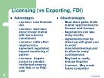 licensing vs exporting fdi