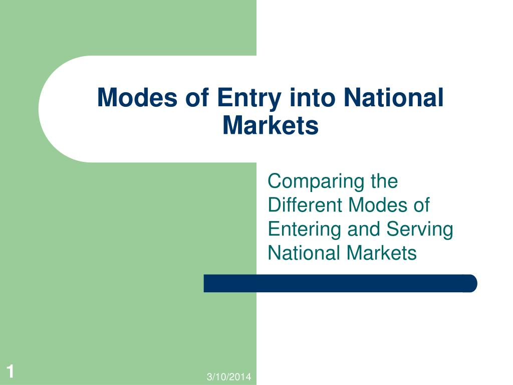 modes of entry into national markets l.