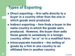 types of exporting