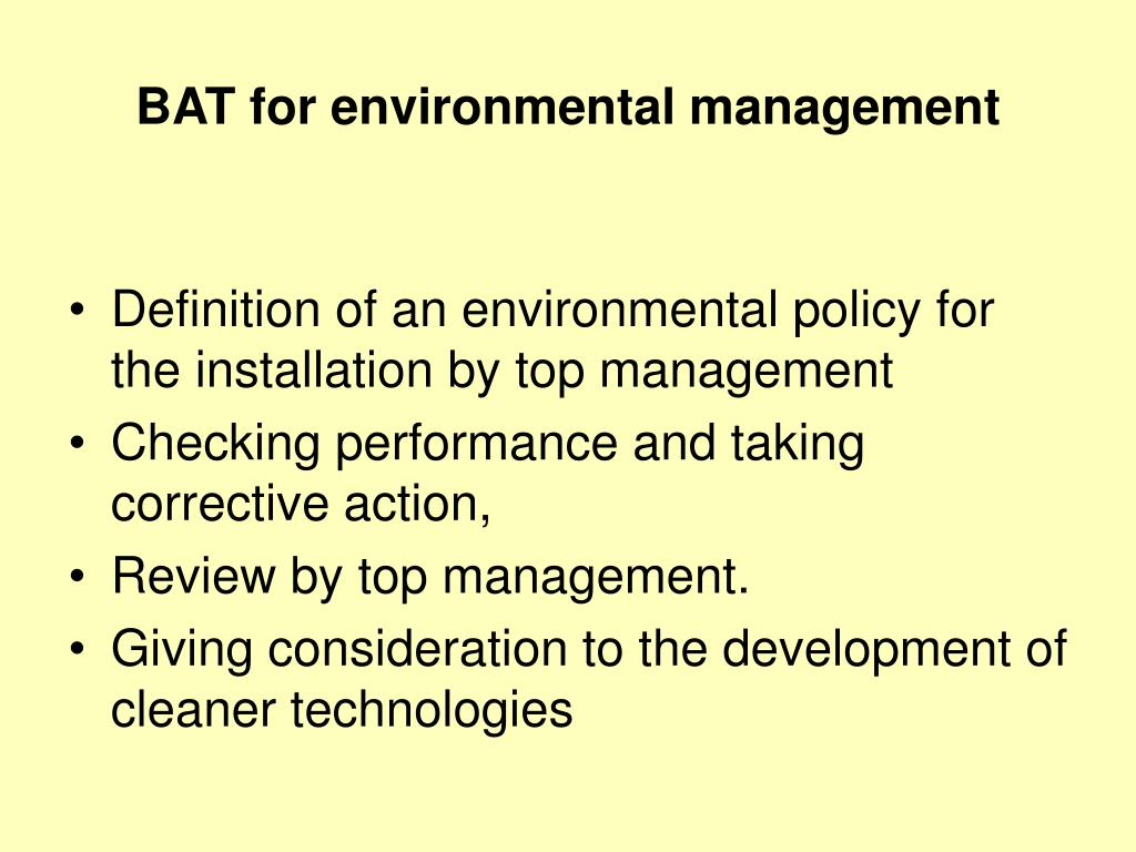 BAT for environmental management