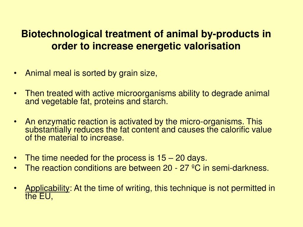 Biotechnological treatment of animal by-products in