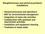 slaughterhouses and animal by products installations