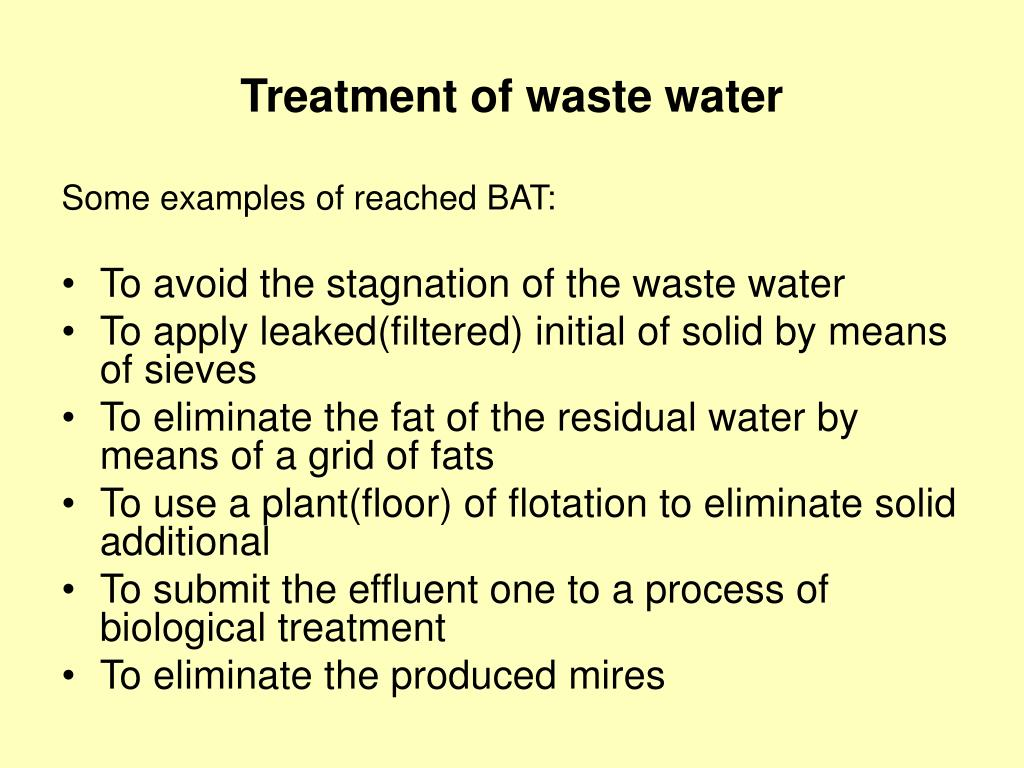 Treatment of waste water