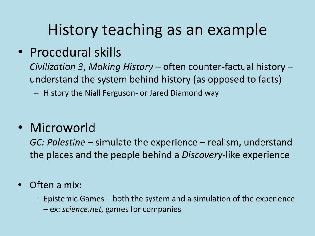 History teaching as an example