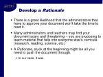 develop a rationale