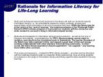 rationale for information literacy for life long learning