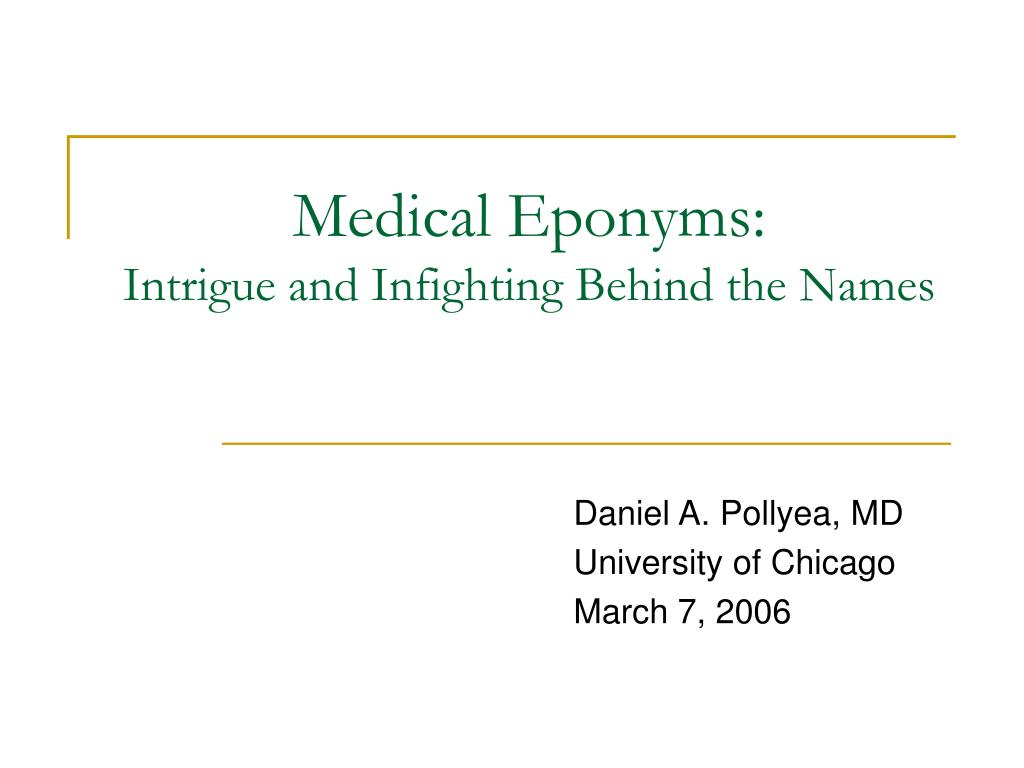 medical eponyms intrigue and infighting behind the names l.