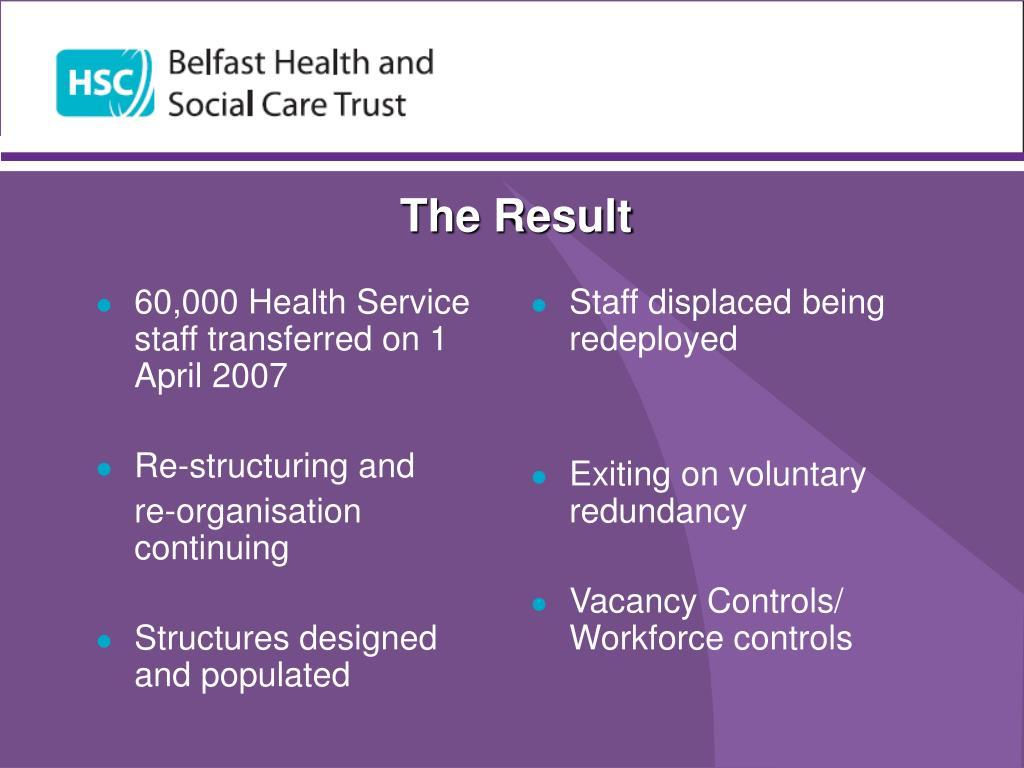 60,000 Health Service staff transferred on 1 April 2007