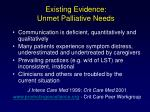 existing evidence unmet palliative needs