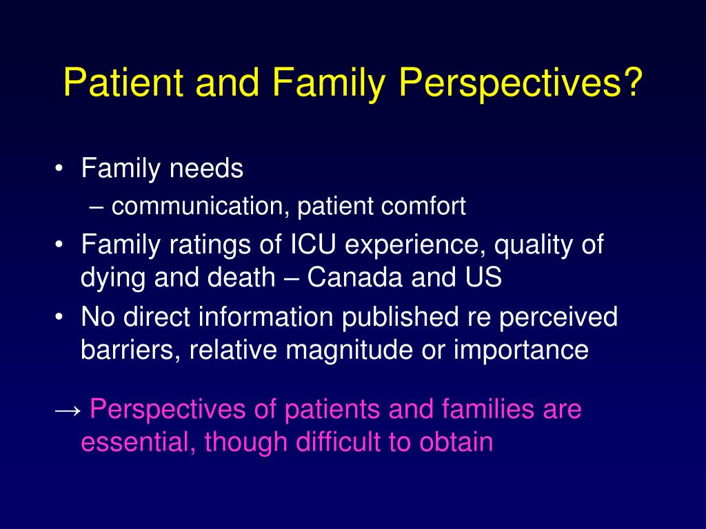 Patient and Family Perspectives?