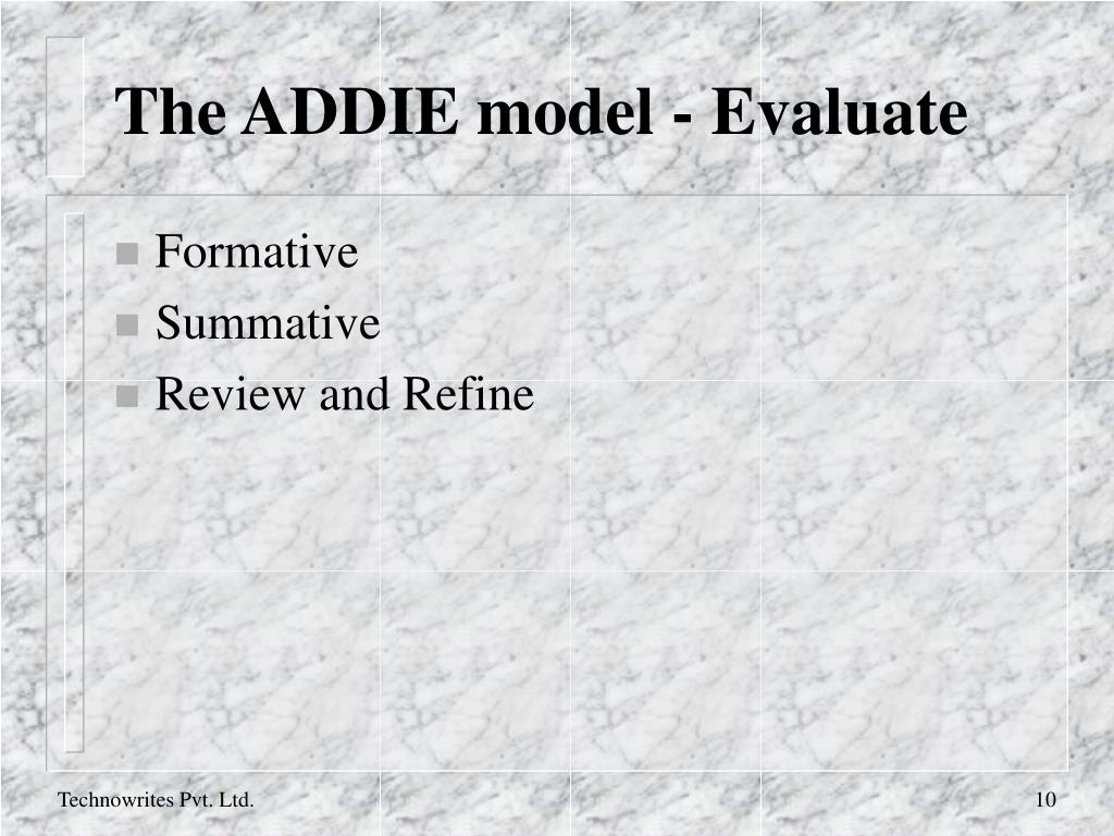 The ADDIE model - Evaluate