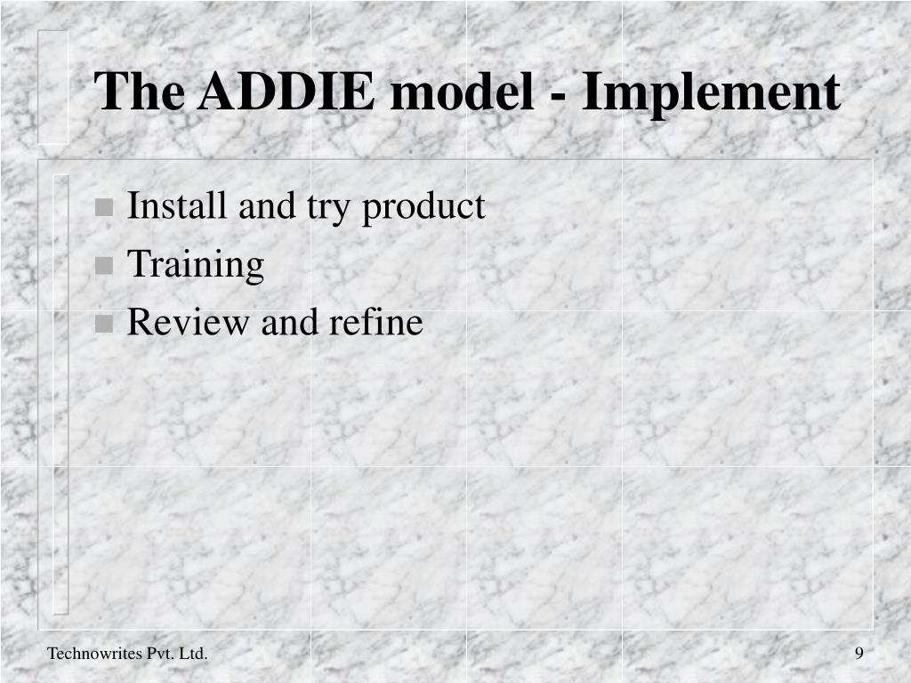 The ADDIE model - Implement