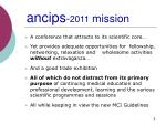 ancips 2011 mission