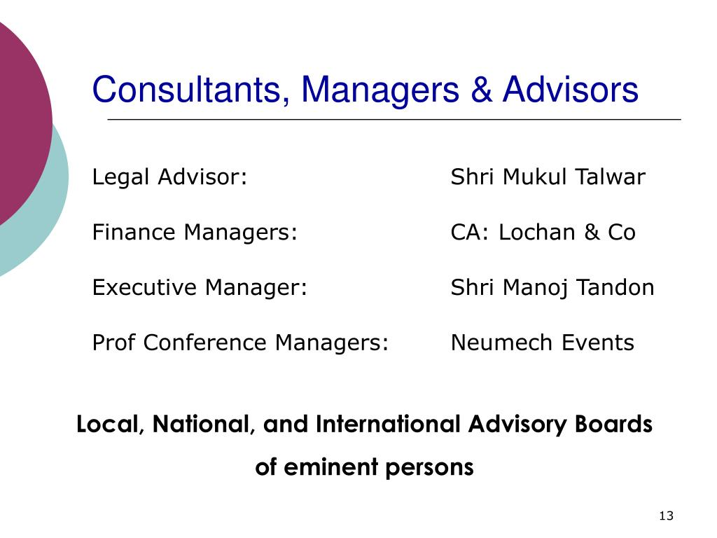 Consultants, Managers & Advisors
