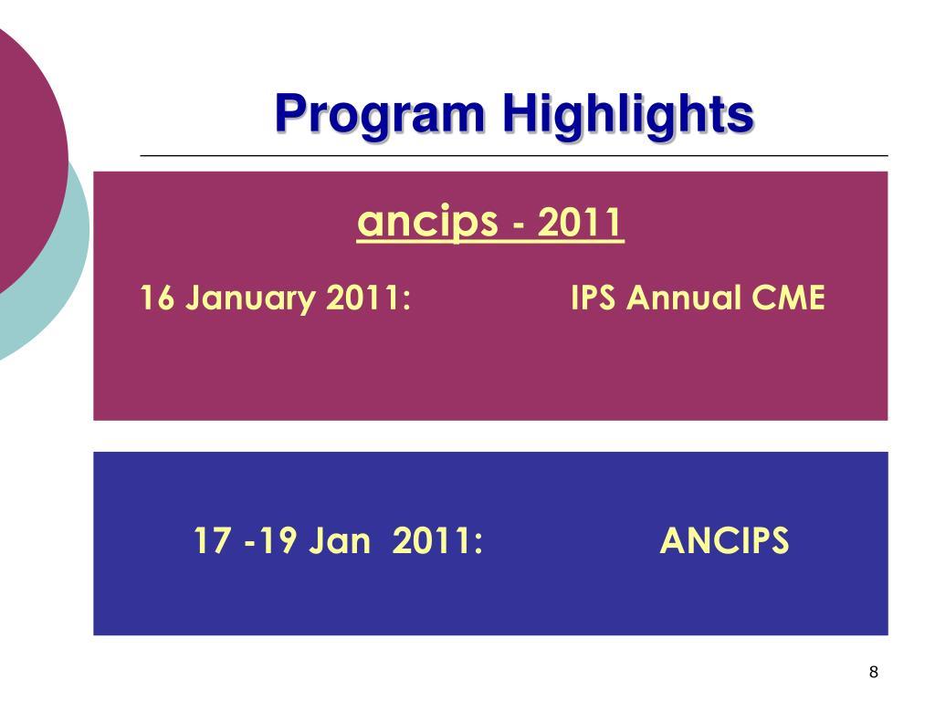 Program Highlights