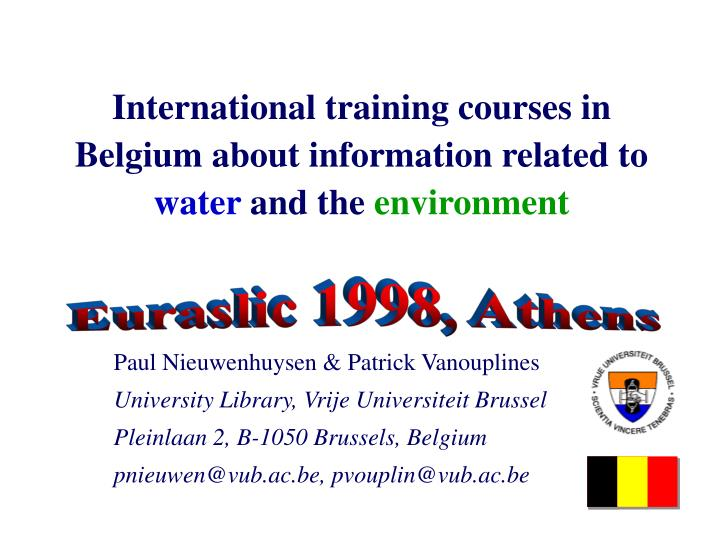 international training courses in belgium about information related to water and the environment n.