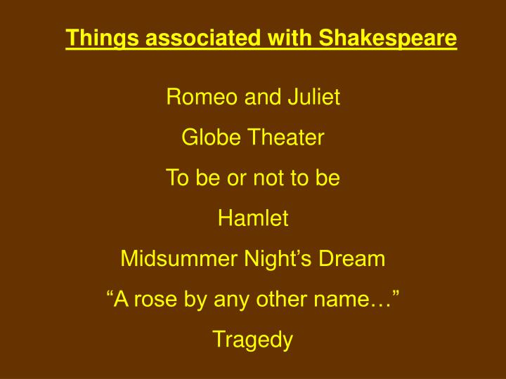 Things associated with Shakespeare